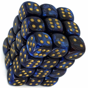 Blue & Gold Scarab 12mm D6 Dice Block
